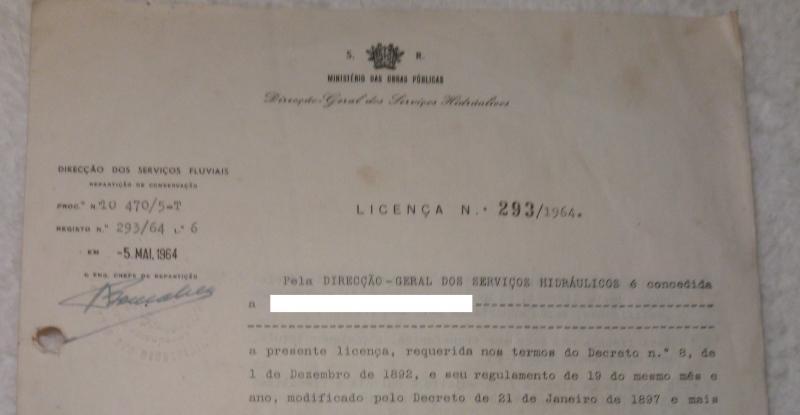 Licença Direcção Geral dos serviços hidrálicos 1964.jpg